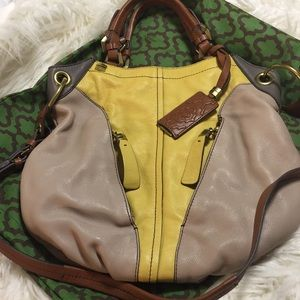 OrYANY Taupe Yellow Brown Handbag Color Block